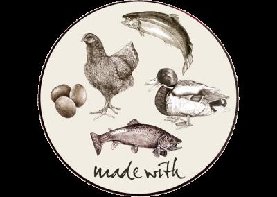 Min. 74%  kylling & and, laks, ørred & æg
